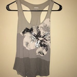Express tee with sequin floral design